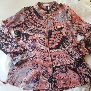 Calvin Klein button down side tie blouse L